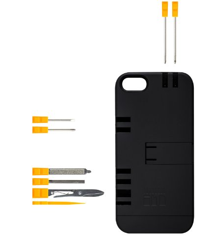IN1 Multi Tool Case for iPhone 5 - Retail Packaging - Black with Orange tools