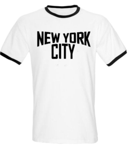 New York City T-Shirt, White T-shirt with Black Trim and Print