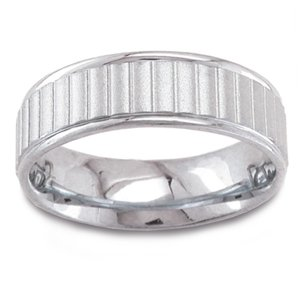 Women's 14k White Gold Sandblasted Ribbed Comfort-Fit Wedding Band (6.50 mm)