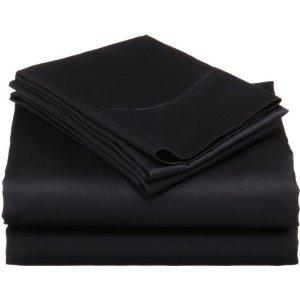1200 Thread Count QUEEN 4PC Bed Sheet Set Egyptian, Deep Pocket Deep Pocket, BLACK
