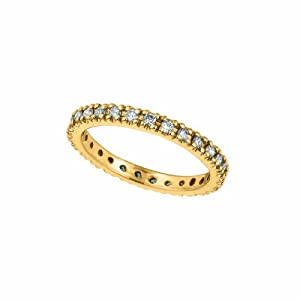 14 Karat Yellow Gold Stackable Stack Guard Motif Ring Enhanced With Briliant Near Colorless Diamonds. (GH-Color SI-Clarity 0.51-Carat)