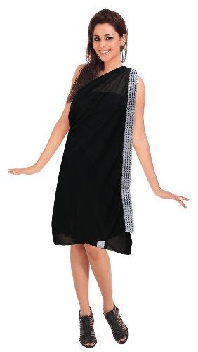 La Leela Sheer Black Designer Sequin Embroidered Chiffon Beach Swim Hawaiian Sarong Pareo