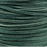 UnCommon Artistry Genuine Split Suede Leather Lace Cord 3mm Green (By the Yard)