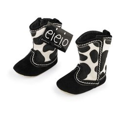 Mud Pie Baby Eieio Cowboy Boot Booties, Cow, 0 - 6 Months