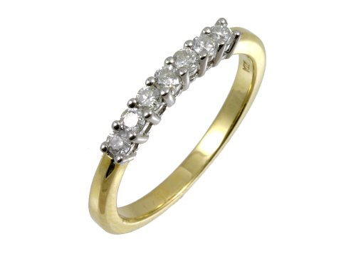 Diamond Eternity Ring, 9ct Yellow Gold, Eternity Band Set, Round Cut, 0.33 Carat Diamond Weight, I3 Diamond Clarity, Ring Size I, Model PR5074 (U)