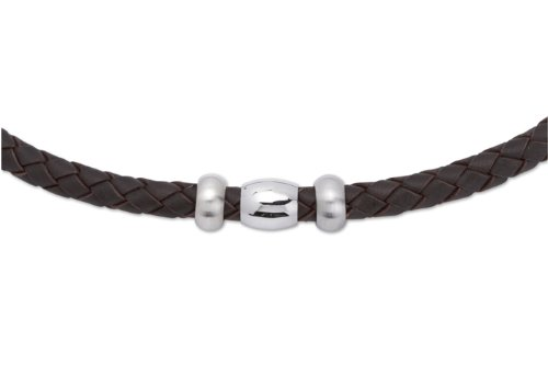 Unique Men 50cm Dark Brown Leather Necklace with Steel Beads