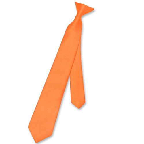 Vesuvio Napoli Boy's CLIP-ON NeckTie Solid ORANGE Color Youth Neck Tie