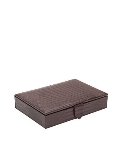 WOLF Faux Leather Blake Cufflink Box, Brown