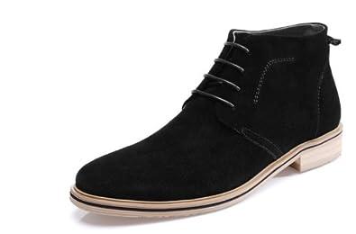 British HAPPYSHOP(TM) Casual Men's Winter Boots Bang Male Cotton Scrub Dull Polish Boots Driving Shoes EUR Size 38-44 (EUR 38, Black)