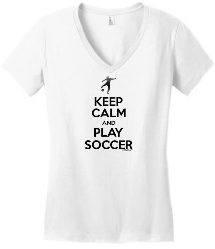Keep Calm And Play Soccer Juniors V-Neck Small White