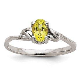 Genuine IceCarats Designer Jewelry Gift 14K White Gold Peridot Birthstone Ring Size 7.00