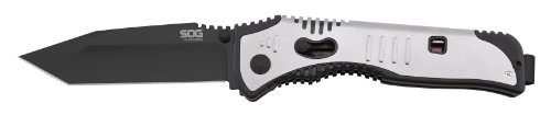 Sog Specialty Knives & Tools Sat004-Cp Flashback Knife With A Straight Edge Assisted Folding 3.5-Inch Tanto Blade And Grn Handle, Black Tini Finish front-981081