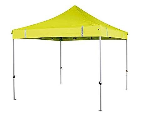 Oztrail - Carpa gran visibilidad amarilla reflectante 3x3m 300D HI-VIZ. Toldo, cenador o gazebo. Patas de altura ajustable mediante un botón. Altura máxima: 335cm MPG-GD30HY-A obras, zonas de construccion, aporta seguridad y visibilidad 25kg
