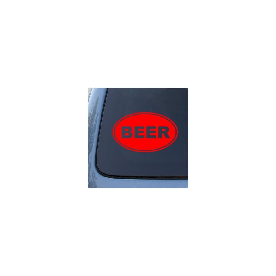 BEER EURO OVAL   Vinyl Car Decal Sticker #1687  Vinyl Color Red