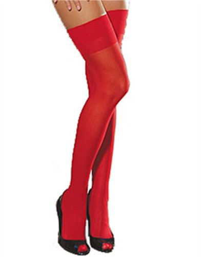 Adult Sexy Red Opaque Thigh High Costume Stockings