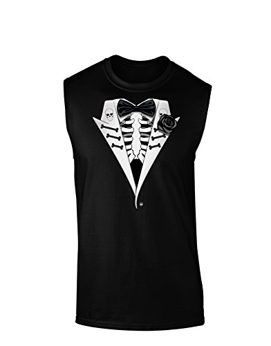 Skeleton Tuxedo Halloween Dark Muscle Shirt