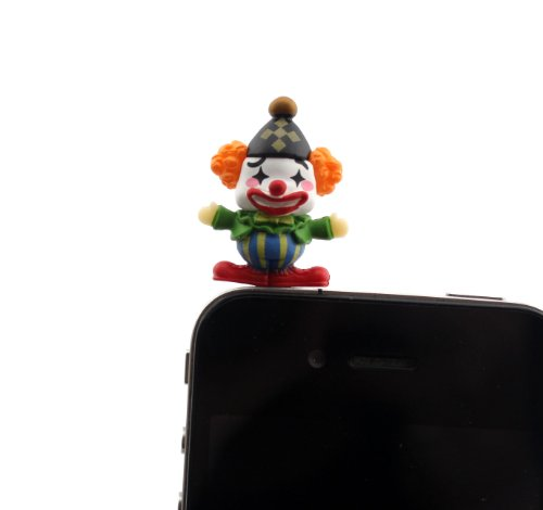 Nine States Hard Plastic Lovely Cartoon Clown 3.5Mm Headphone Jack Anti Dust Plug Ear Cap For Iphone 5 5S 5C Iphone4,4S,Ipad ,Ipod Touch ,Samsung Galaxy S3 S4 Note 3 Note2,Blackberry And Other Cellphone