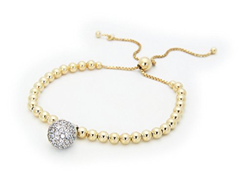 [Silver Gold Plated 3mm Ball Beads Adjustable Bracelet & Cz Disco Ball Haging] (The 3 Amigos Costume)