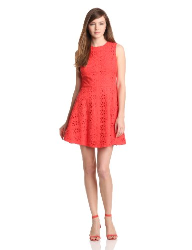 Cynthia Steffe Women's Hailey Floral Eyelet Dress, Coral Rose, 0