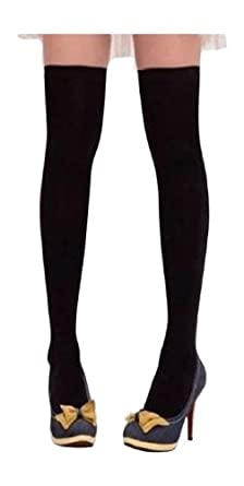Ladies' BLACK Cotton Over Knee/Thigh High Socks Sockings-Small