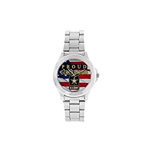 Special Design Military Proud US Army Girlfriend and American Flag Custom Unisex Stainless Steel Watch, 100% Stainless Steel, Metal Silver