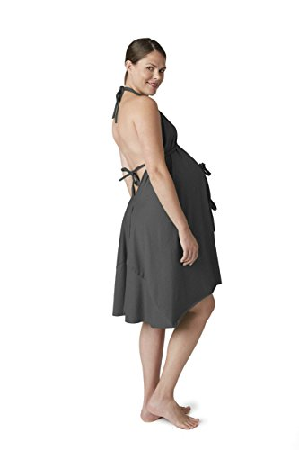 Pretty Pushers 100% Cotton Disposable Labor & Delivery Gown (Plus size 18-26 Pre-Pregnancy, Charcoal Heathered Gray)