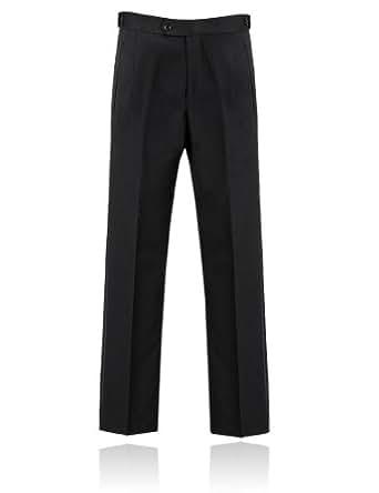 Pantalon Noir, Bande Satin Sur Les Côtés par Alexander Dobell-36 Long