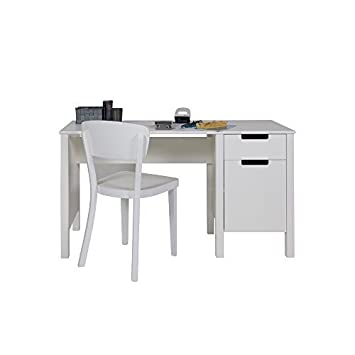 Desk / Kids' work desk JANNY, Wood Pine, white, 140x60cm