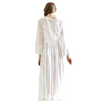 Cityelf Women's Sexy Clear Chiffon Vintage Maxi Pretty Lace Sleepwear SYW0002
