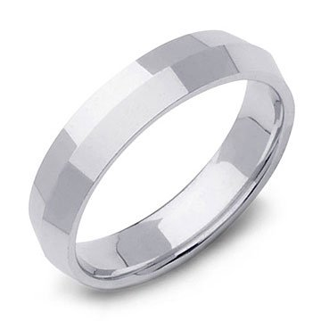 Knife Edge Wedding Ring Band in 14k White Gold (5mm)