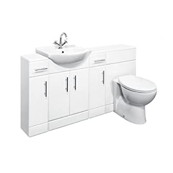 1650mm Combination White Gloss Vanity & WC Unit with 2x Cupboard Units