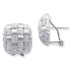Sterling Silver Square Fancy Omega Back Post Earrings