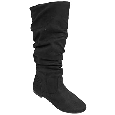 Journee Collection Black Rebecca Knee-High Slouch Boots - Women