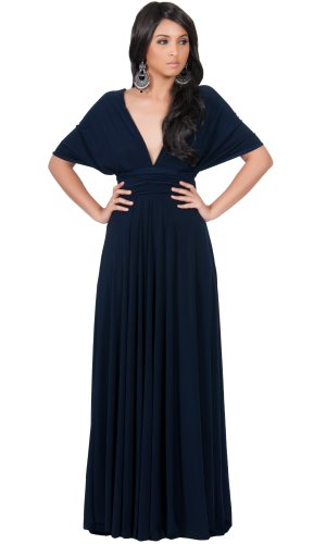 Koh Koh Women's Convertible Wrap Long Cocktail Gown Maxi Dress – Large – Navy Blue