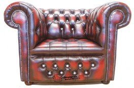 "Chesterfield CRYSTALLIZEDâ""¢ - Swarovski Elements Low Back ArmChair Oxblood Leather"