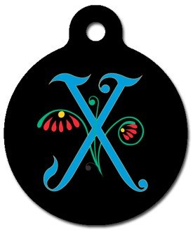 Monogram Letter X Pet ID Tag for Dogs and Cats
