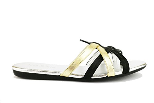 HOGAN 36 EU sandali donna nero oro pelle AH681-B