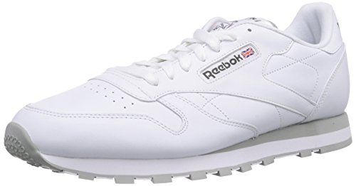 Reebok CL LTHR 28412 - Sneaker classiche uomo, Bianco (White/Lt. Grey), 43