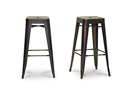 French Industrial Modern Bar Stool in Antique Copper with Chanasya Polish Cloth Bundle (Set of Two)