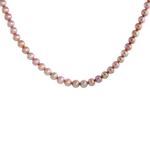 42 in. Cultured 7.5mm Pink Pearl Necklace w/ 14k Gold Lock