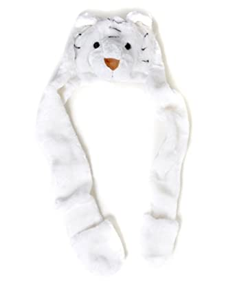 'Hat-imals' Plush Animal Winter Hats with Paws (Collection 4), White Tiger