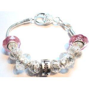 Daughter Children's Pandora Style Charm Bracelet - 18cm Silver Plated Bracelet - Ideal Birthday/Christmas Present