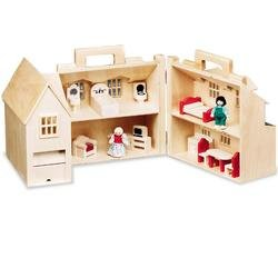 Fold and Go Dollhouse with Furniture and Two Dolls