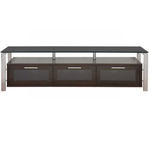 PLATEAU DECOR 71 ES BG Wood and Glass TV Stand, 71-Inch, Espresso Finish