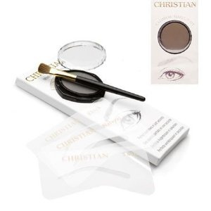 Christian Eyebrows DARK BROWN Stencils, Powder and Brush Set