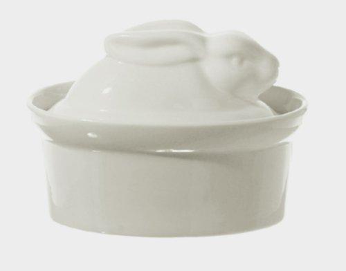La Porcellana Bianca Blanc porcelaine en forme de lapin P001501016 Plat à Terrine