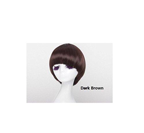 XQXHair Donne Breve Bob signore parrucca piena diritta capo Silky capelli sintetici con la frangetta dritta Fringe termoresistente vestito operato da Cosplay Pop Party Con protezione libera della parrucca 190g / pc 30 centimetri , natural black