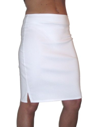 ICE (2356) towie stretch pencil skirt smart casual white 6-18 (6) Image