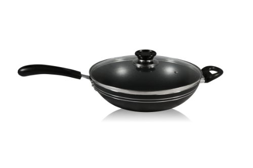 Ragalta Rcw-013 Purelife Series Non-Stick 4.5-Quart Wok And Frying Pan Combo With Riveted Bakelite Handle And Glass Lid, Medium, Black