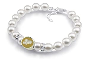 Purdue Boilermakers White Pearl Bracelet Jewelry. Officially Licensed High Quality by Collegiate Beads